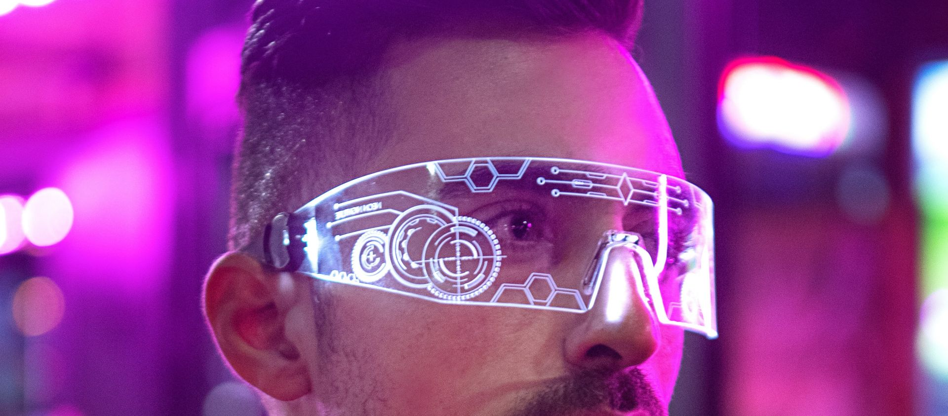 Man with advanced tech glasses