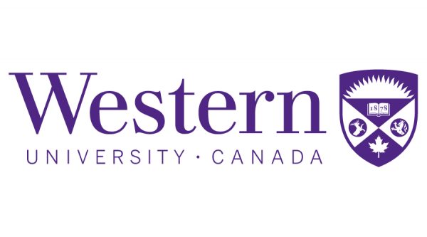 Western University's logo, purple text on a white background reading: Western University, Canada. The school's crest is to the right of the text, also in purple.